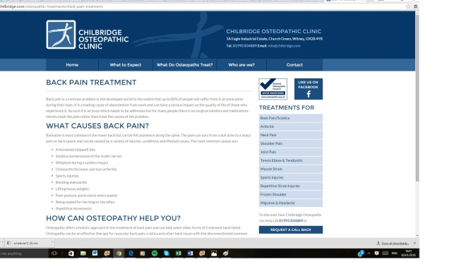 Chilbridge back pain